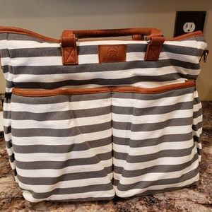 Handbags - Diaper Bag Grey Stripes